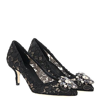 Dolce&Gabbana Dolce & Gabbana High Heels Pumps Bellucci R60 Nylongaze gewebt Spitze Schmuckstein schwarz schwarz