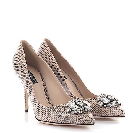 Dolce&Gabbana Dolce & Gabbana High Heels Pumps Glattleder Schlagenleder Kristallverzierung beige braun