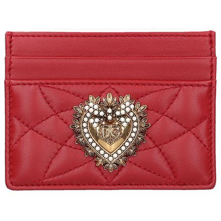 Dolce&Gabbana Dolce & Gabbana Kleines Kreditkartenetui DEVOTION Kalbsleder Logo Metallisch rot rot