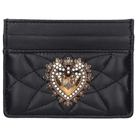Dolce&Gabbana Dolce & Gabbana Kleines Kreditkartenetui DEVOTION Nappaleder logo metallisch schwarz
