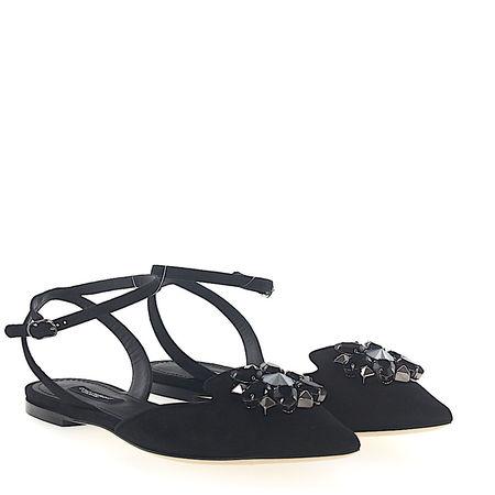 Dolce&Gabbana Dolce & Gabbana Pantoletten Mules BELLUCCI Knöchelriemchen Veloursleder schwarz Schmucksteinverzierung grau
