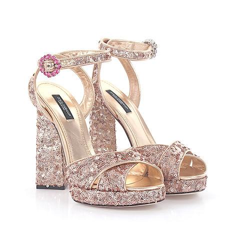 Dolce&Gabbana Dolce & Gabbana Plateausandalen Kalbsleder  Textil Pailletten Schmuckstein rosé braun