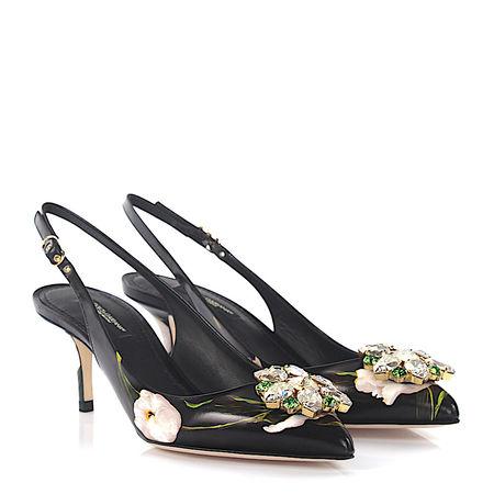Dolce&Gabbana Dolce & Gabbana Slingpumps BELUCCI R Leder schwarz Blumenprint Schmucksteinverzierung grau
