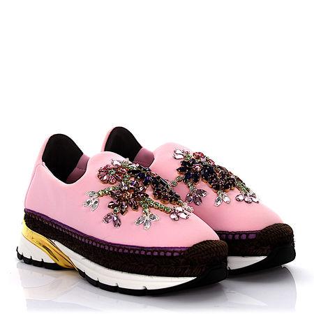 Dolce&Gabbana Dolce & Gabbana Sneakers Espadrillas Neopren rosa Bast braun Schmucksteinverzierung schwarz