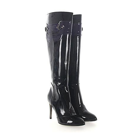 Dolce&Gabbana Dolce & Gabbana Stiefel Lackleder schwarz Logo lila grau