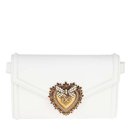 Dolce&Gabbana  Gürteltasche  -  Devotion Belt Bag Leather White  - in weiß  -  Gürteltasche für Damen grau