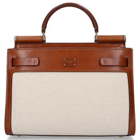 Dolce&Gabbana Handtasche SICILY 62 Rindsleder Canvas Logo braun beige braun