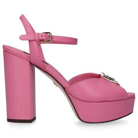 Dolce&Gabbana Plateausandalen BIANCA Kalbsleder Logo Metallisch rosa rosa