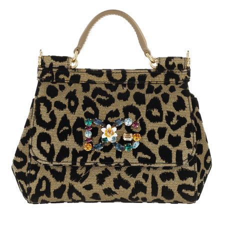 Dolce&Gabbana  Satchel Bag  -  Mini Sicily Bag Velvet Leo Print  - in gold  -  Satchel Bag für Damen schwarz