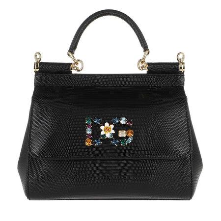 Dolce&Gabbana  Satchel Bag  -  Sicily Mini St. Iguana Black  - in schwarz  -  Satchel Bag für Damen schwarz