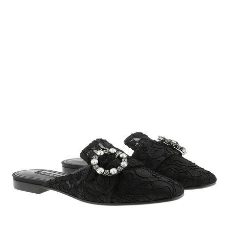 Dolce&Gabbana  Schuhe  -  Lace With Jewel Buckle Slippers Black  - in schwarz  -  Schuhe für Damen schwarz