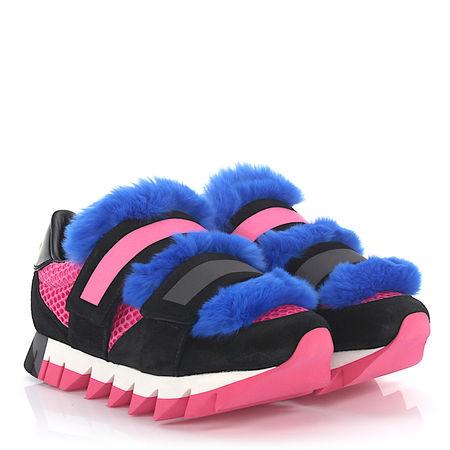 Dolce&Gabbana Sneakers Leder Pelz Details pink blau blau