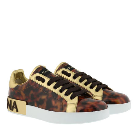 Dolce&Gabbana  Sneakers  -  Portofino Sneaker Patent Leather Marrone  - in braun  -  Sneakers für Damen grau