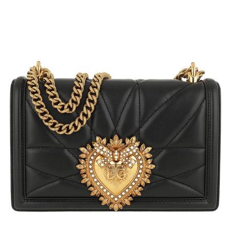 Dolce&Gabbana  Umhängetasche  -  Devotion Bag Medium Matelassè Leather Black  - in schwarz  -  Umhängetasche für Damen schwarz