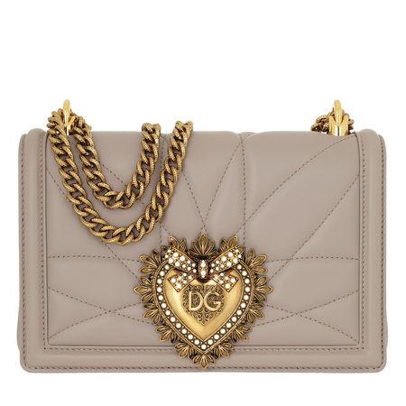 Dolce&Gabbana  Umhängetasche  -  Devotion Bag Medium Matelassé Leather Sand  - in grau  -  Umhängetasche für Damen