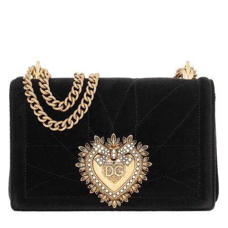Dolce&Gabbana  Umhängetasche  -  Devotion Bag Medium Nero  - in schwarz  -  Umhängetasche für Damen schwarz