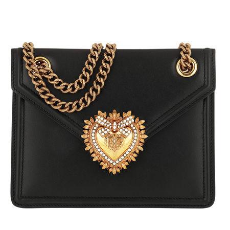 Dolce&Gabbana  Umhängetasche  -  Devotion Shoulder Bag Leather  - in schwarz  -  Umhängetasche für Damen schwarz