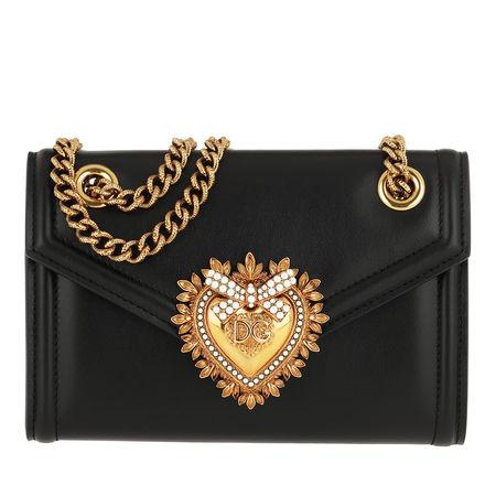 Dolce&Gabbana  Umhängetasche  -  Devotion Wallet On Chain Leather Black  - in schwarz  -  Umhängetasche für Damen schwarz