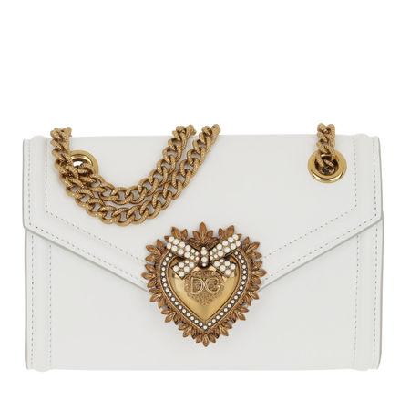 Dolce&Gabbana  Umhängetasche  -  Devotion Wallet On Chain Leather White  - in weiß  -  Umhängetasche für Damen grau