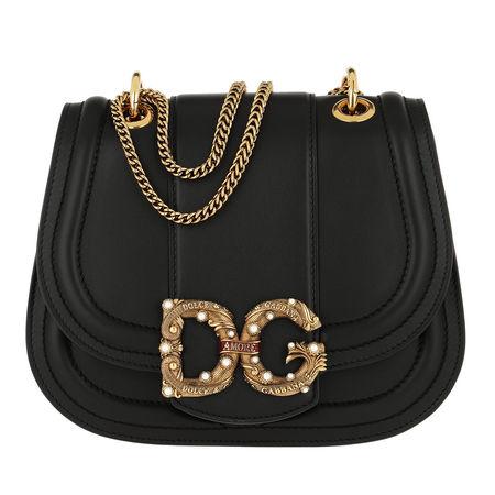 Dolce&Gabbana  Umhängetasche  -  DG Amore Bag Calfskin Leather Black  - in schwarz  -  Umhängetasche für Damen schwarz