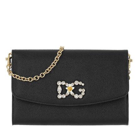Dolce&Gabbana  Umhängetasche  -  DG Wallet On Chain Leather Black  - in schwarz  -  Umhängetasche für Damen grau