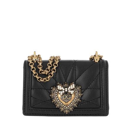 Dolce&Gabbana  Umhängetasche  -  Micro Devotion Crossbody Black  - in schwarz  -  Umhängetasche für Damen schwarz