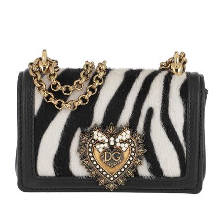 Dolce&Gabbana  Umhängetasche  -  Mini Crossbody Leather White  - in schwarz  -  Umhängetasche für Damen schwarz