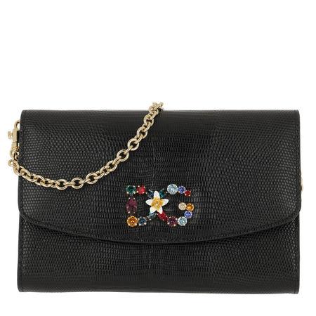 Dolce&Gabbana  Umhängetasche  -  St. Dauphine Logo Wallet Rhinestones Black  - in schwarz  -  Umhängetasche für Damen schwarz