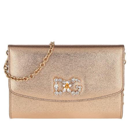 Dolce&Gabbana  Umhängetasche  -  St. Dauphine Wallet On Chain Gold  - in gold  -  Umhängetasche für Damen braun