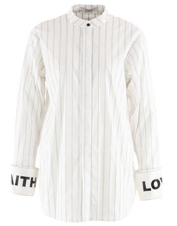 Dorothee Schumacher  - Bluse Exeptional Stripes aus Baumwollgemisch grau