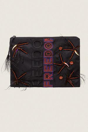 Dorothee Schumacher FREE ADVENTURE 'Freedom' embroidery clutch bag beige