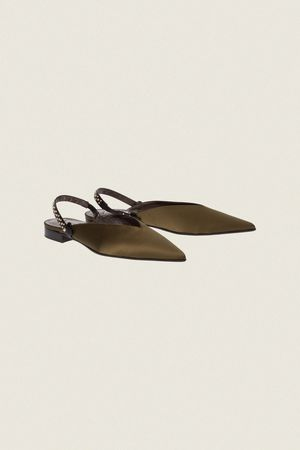 Dorothee Schumacher SUMPTUOUS SATIN flat slipper with moveable back strap 37 beige