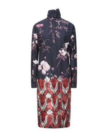 Dries van Noten  34 Damen Dunkelblau Knielanges Kleid Baumwolle grau