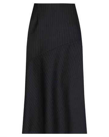 Dries van Noten  34 Damen Dunkelblau Maxirock Polyester, Wolle schwarz