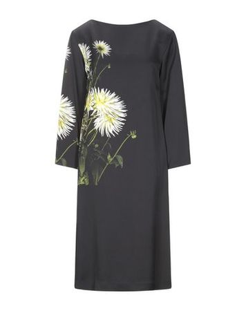 Dries van Noten  34 Damen Schwarz Knielanges Kleid Polyester grau