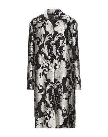 Dries van Noten  34 Damen Schwarz Lange Jacke Viskose, Polyester, Seide grau