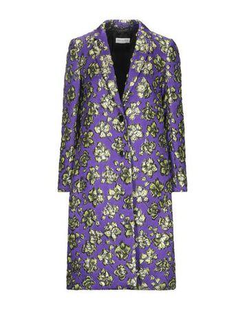 Dries van Noten  34 Damen Violett Lange Jacke Polyester, Polyamid, Seide, Metallisiertes Polyester grau