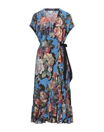 Dries van Noten  36 Damen Azurblau Midikleid Polyester, Elastan grau