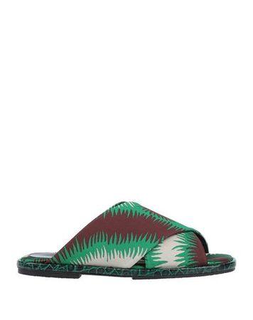 Dries van Noten  36 Damen Hellgrün Sandale Gewebefasern, Leder braun