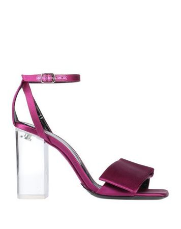 Dries van Noten  37 Damen Fuchsia Sandale Leder, Gewebefasern pink