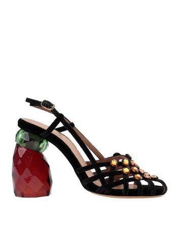 Dries van Noten  39.5 Damen Schwarz Sandale Gewebefasern schwarz