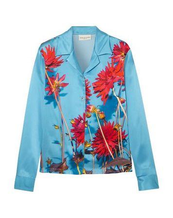 Dries van Noten  40 Damen Azurblau  Hemd Seide blau