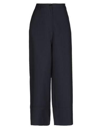 Dries van Noten  40 Damen Dunkelblau Hose Polyester, Wolle grau