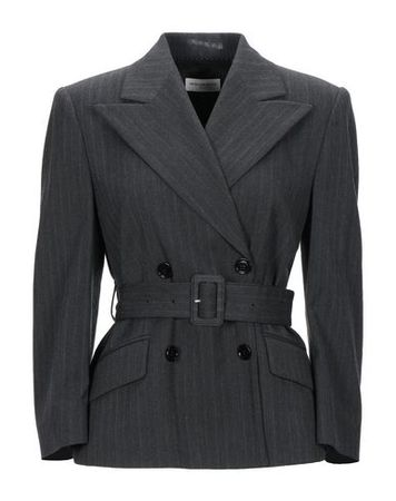 Dries van Noten  40 Damen Granitgrau Jackett Polyester, Wolle grau