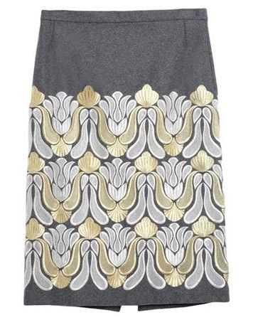Dries van Noten  40 Damen Grau Midirock Wolle, Polyamid grau