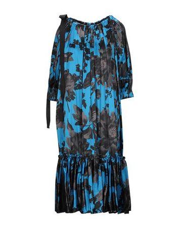 Dries van Noten  Damen Blau Knielanges Kleid Viskose, Seide grau