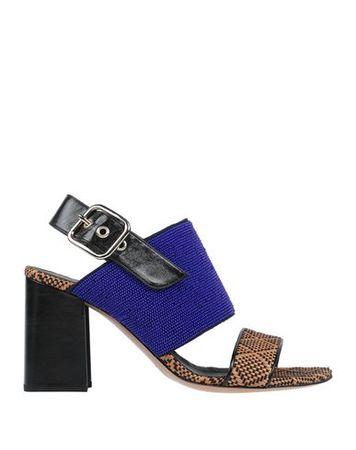 Dries van Noten  Damen Blau Sandale Leder, Gewebefasern blau