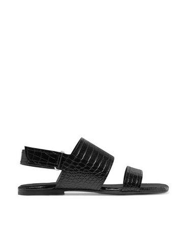 Dries van Noten  Damen Blau Sandale Leder schwarz