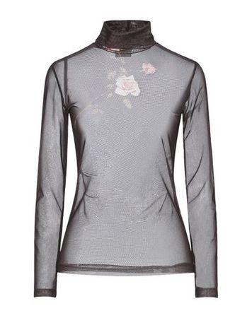 Dries van Noten  Damen Braun T-shirts Polyamid, Elastan grau