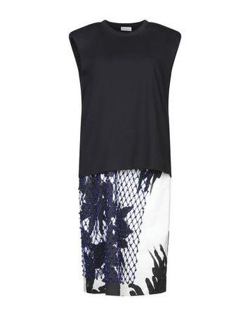 Dries van Noten  Damen Dunkelblau Knielanges Kleid Baumwolle grau